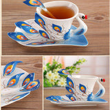 Beautiful Peacock Ceramic Coffee Cup Luxury Set with Salver - Perfect Gift