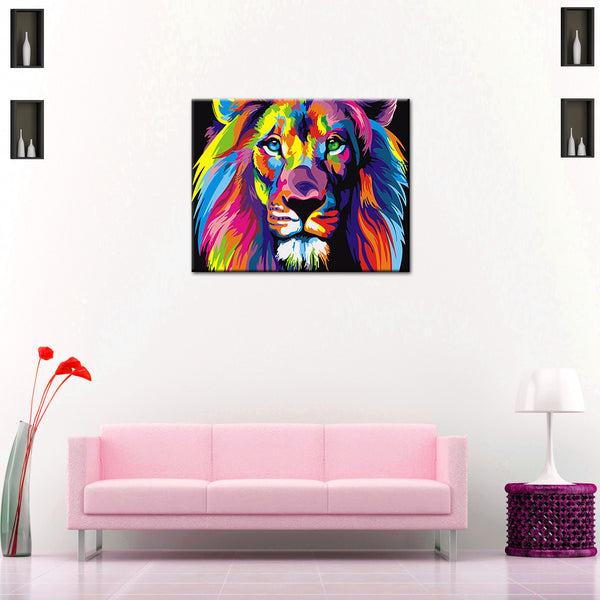 Multicolour Lion DIY Painting Home Art  Pictures For Living Room