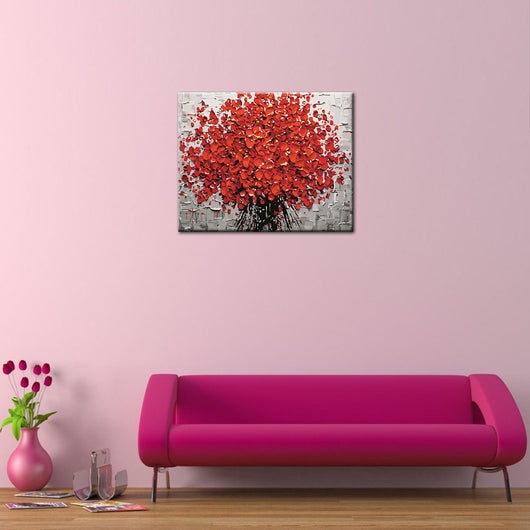 Red Flower DIY Painting Home Art  Pictures For Living Room