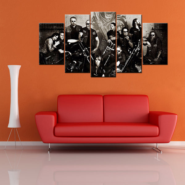 5 Piece Sons Of Anarchy Soa Samcro Canvas Wall Art For Livingroom - HD Quality