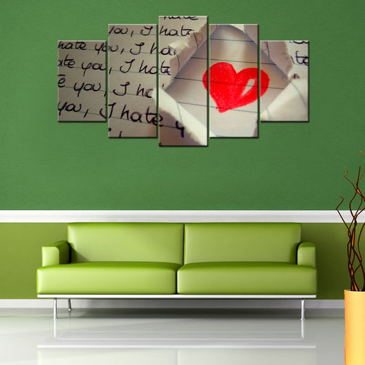 I Hate You Love 5 Piece Canvas Wallart Hd Quality Offersplace