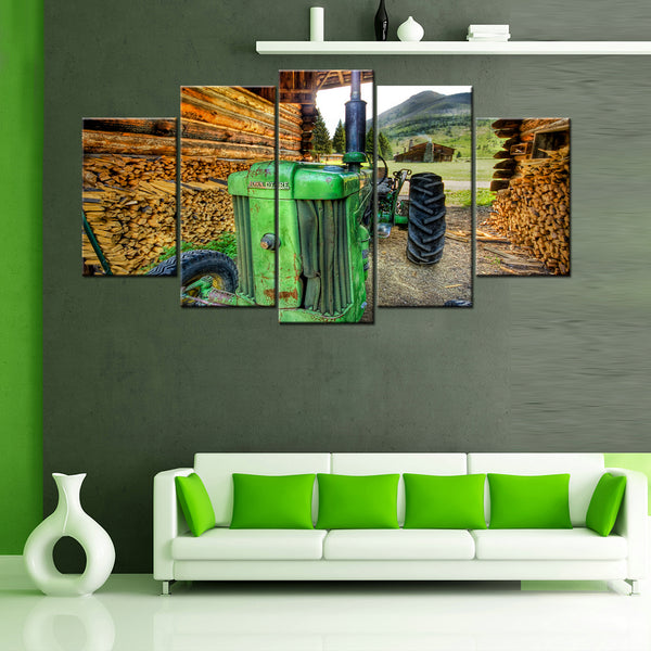 John Deere Old Tractor 5 Piece Canvas Wallart - HD Quality