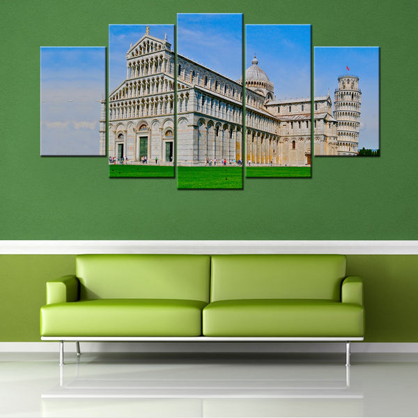 Leaning Tower of Pisa 5 Piece Canvas Wallart - HD Quality Offersplace