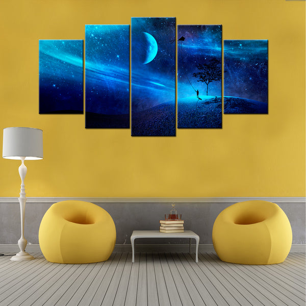 Blue Galaxy 5 Piece Canvas Wallart - HD Quality