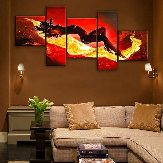 Modern Women Oil Painting-5 pieces Canvas Wall Art -HD Quality