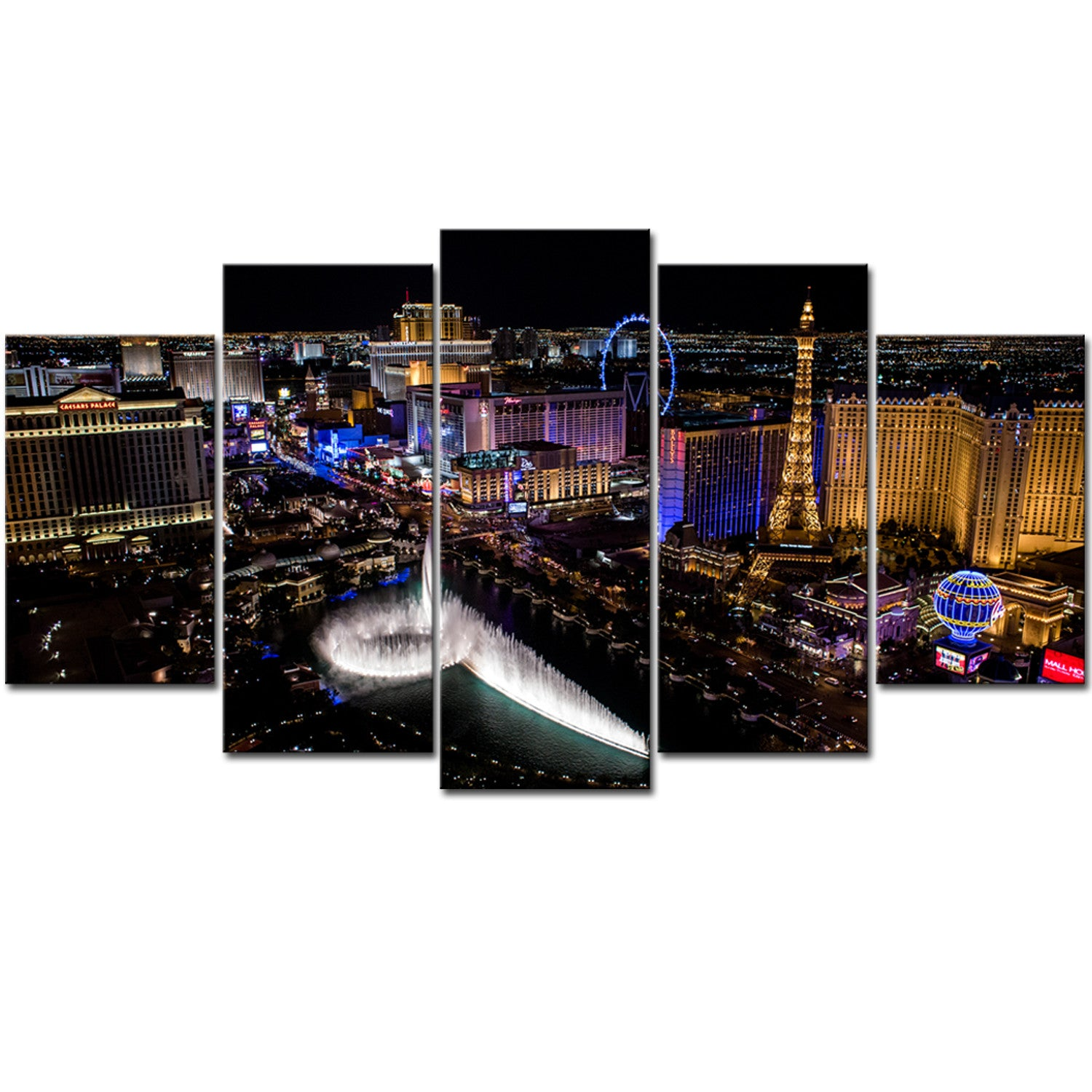 Famous City LAS VEGAS 5 Pieces Canvas Wall Art - -HD Quality