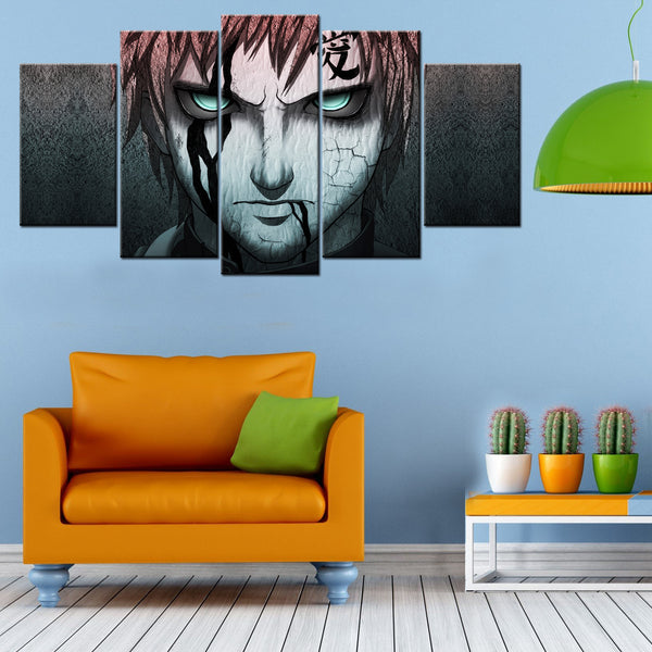 Angry Gaara 5 Piece Canvas Wallart - HD Quality