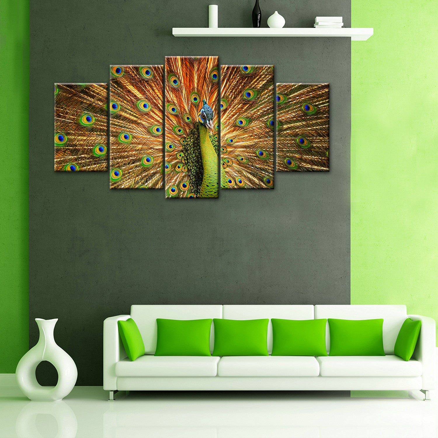 5 Pieces Beautiful Peacock Canvas Wall Art Home Decoration For Living Room - HD Quality
