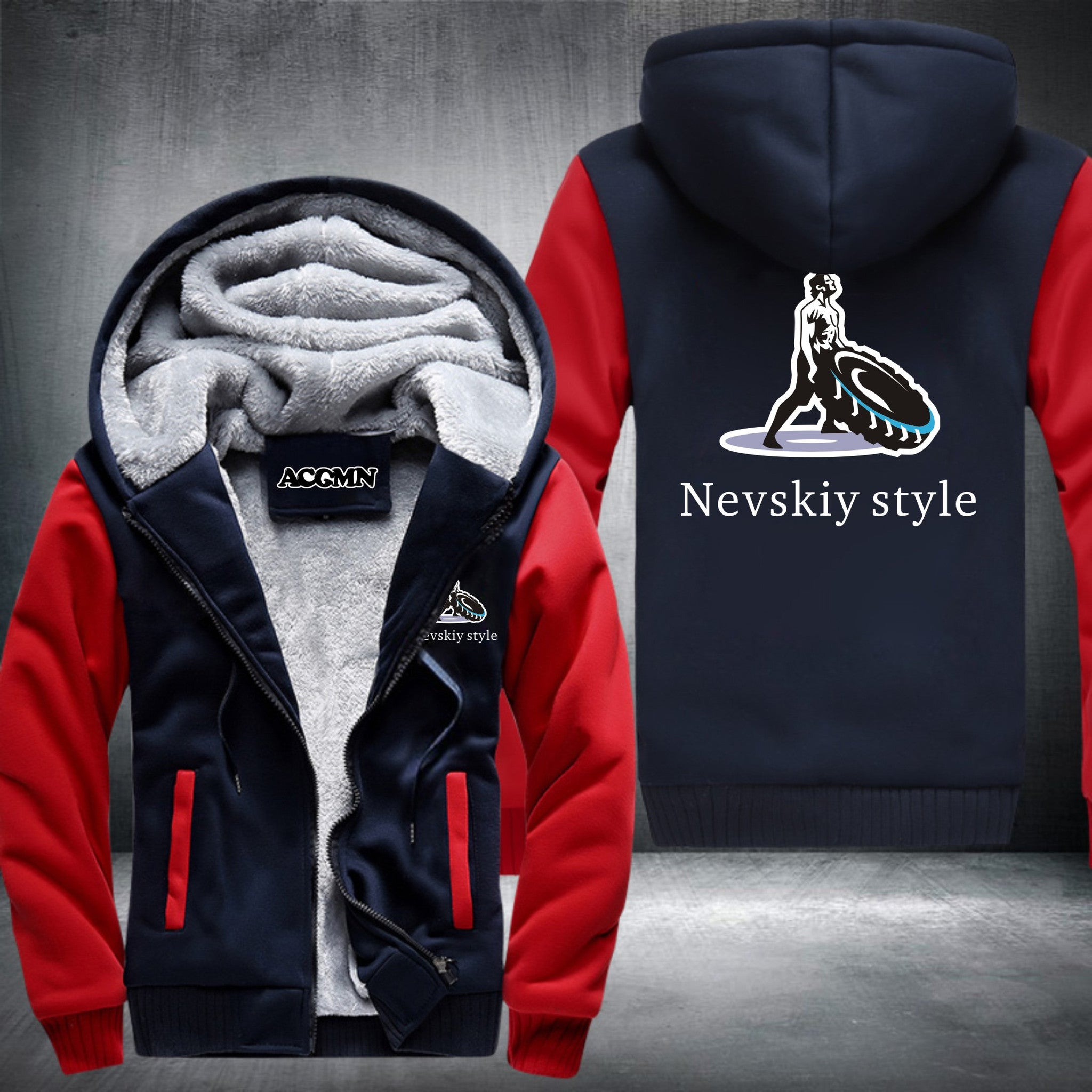 Nevskiy Style SUPER WARM THICKEN FLEECE ZIP UP HOODIE JACKET
