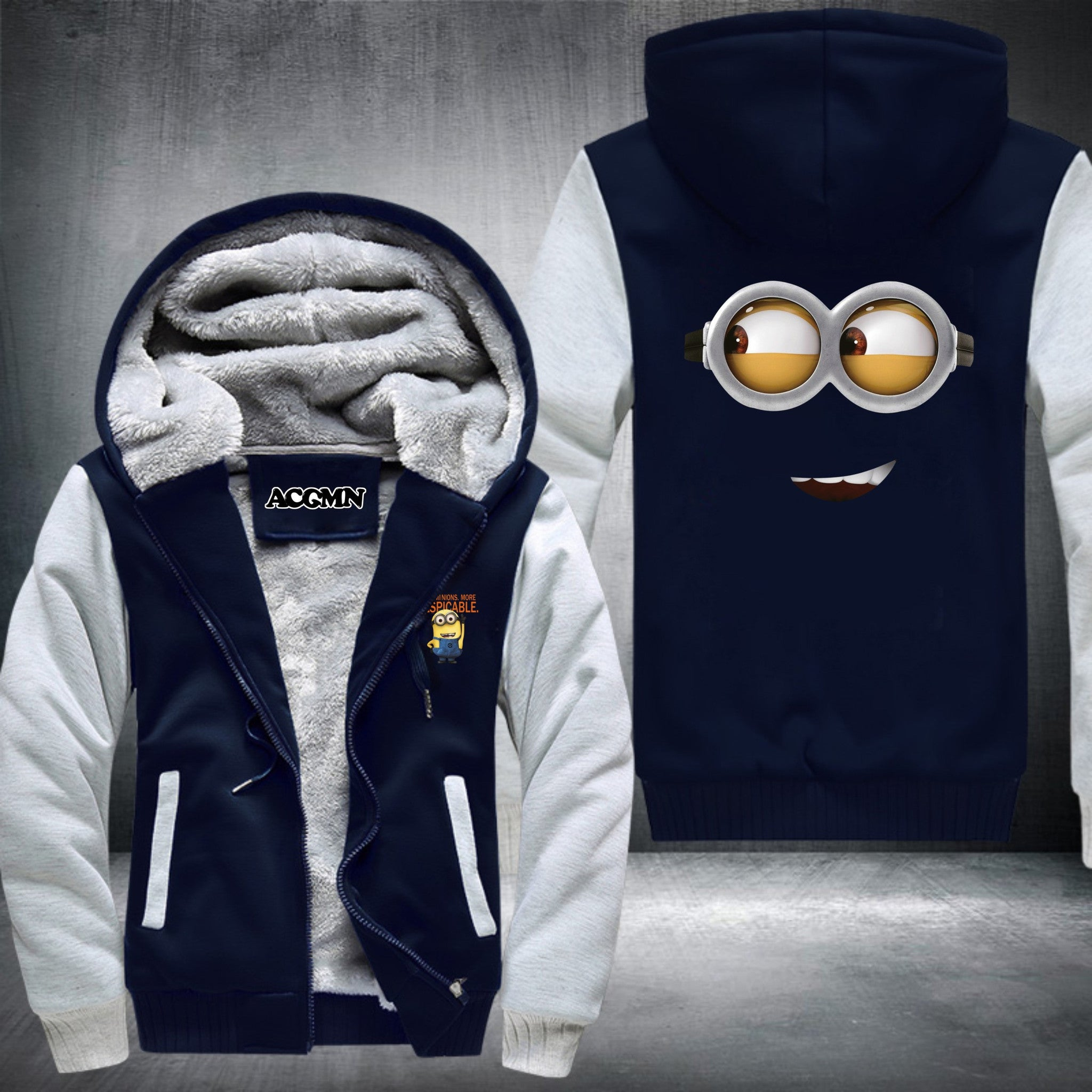 Despicable Me Minion SUPER WARM THICKEN FLEECE ZIP UP HOODIE JACKET
