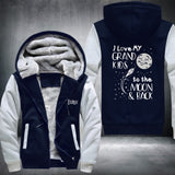 Grandkids Moon Super Warm Thicken Fleece Zip Up Hoodie Jacket