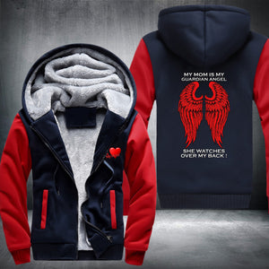 My Mom Is My Guardian Angel Super Warm Thicken Fleece Zip Up Hoodie Jacket