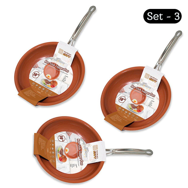 Non-Stick Copper Pan with Ceramic Coating Safe 10 Inches