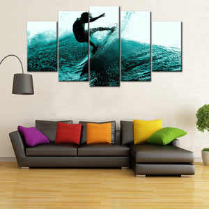 Awesome Surfing 5 Piece Canvas Wallart - HD Quality
