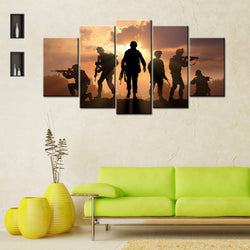 Sunset Soldiers 5 Piece Canvas Wallart - HD Quality