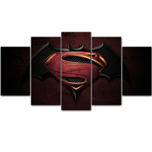 Superman VS Batsman 5 Pieces Canvas Wall Art - HD Quality