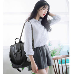 New Fashion Wave Soft Leather Casual Female Backpack