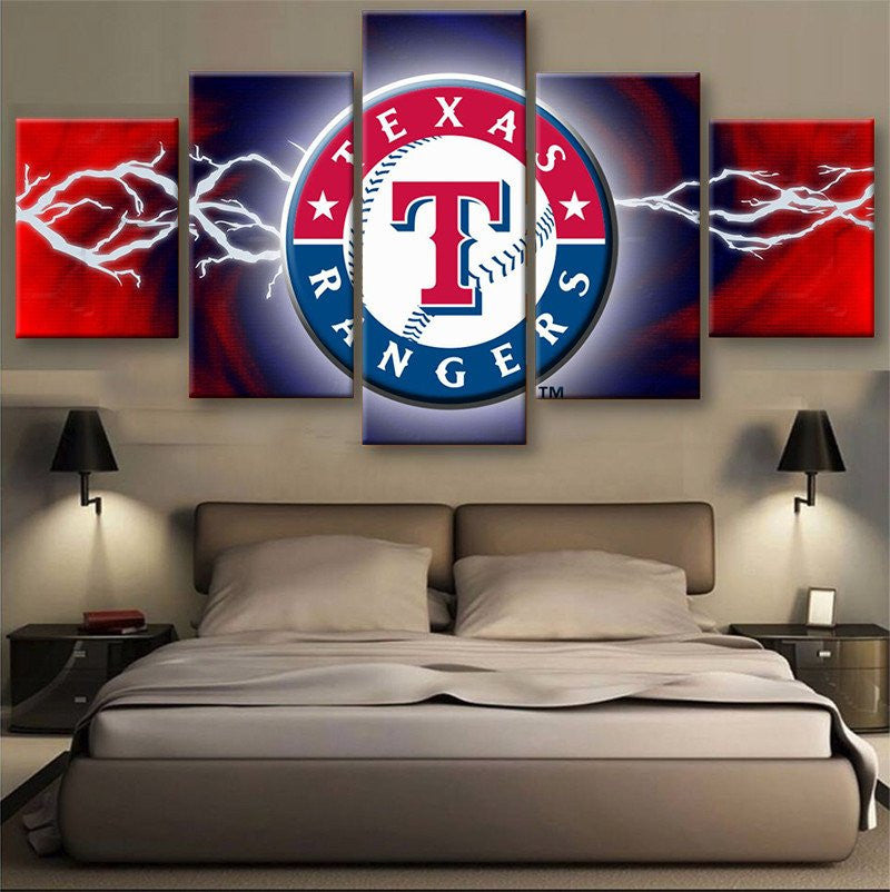 Texas Rangers 5 PIECES CANVAS WALLART - HD QUALITY