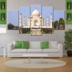 One Of The Wonder TajMahal 5 Piece Canvas Wall Art - HD Quality