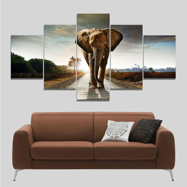 5 Pieces  Elephant On Road Canvas  Wall Art - HD Quality