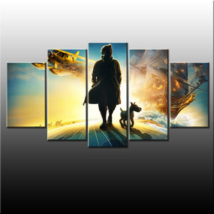 The Adventures of Tintins 5 Piece Canvas Wallart - HD Quality