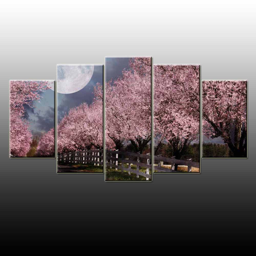 Cherry Blossom 5 Piece Canvas Wallart - HD Quality