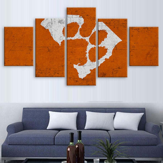 Clemson 5 Piece Canvas Wallart - HD Quality