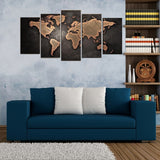 Vintage seven Continents 5 Piece Canvas Wall arts - HD Quality