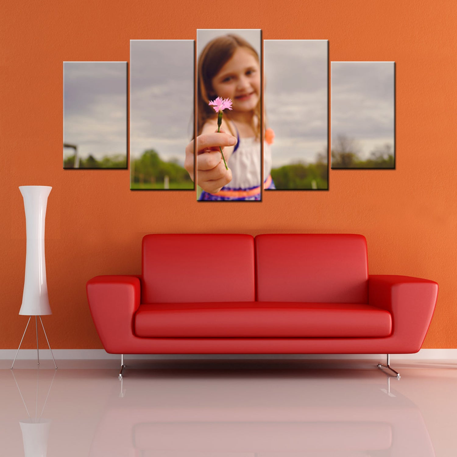 Cute Girl Flower 5 Piece Canvas Wallart - HD Quality