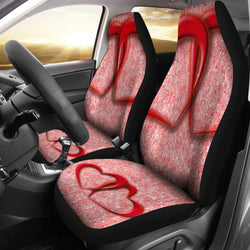 Heart Pair Red Love Seat Covers For All Car
