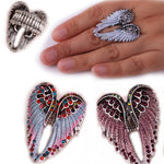 Angel Wings Stretch Ring Women Biker