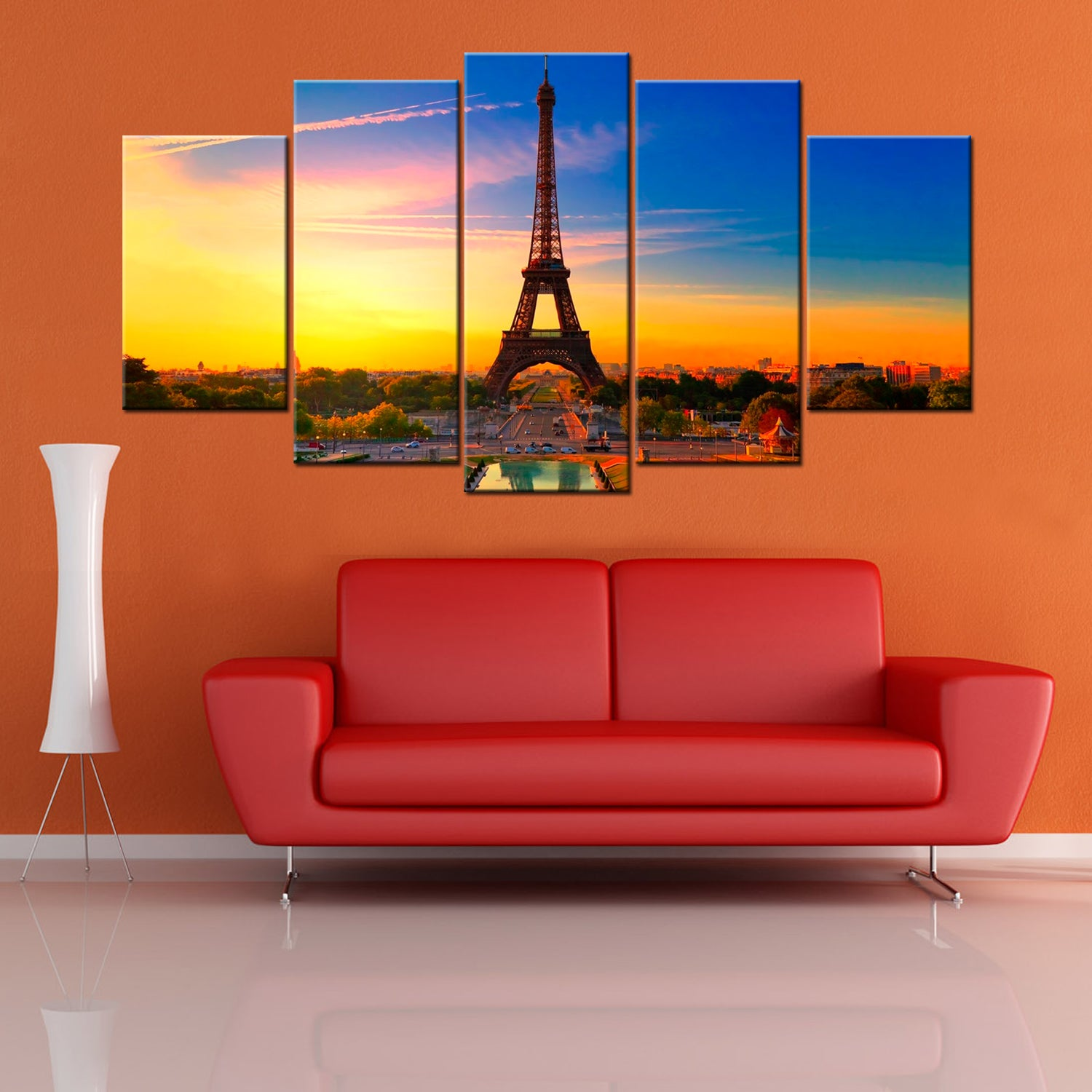 Sunset Eiffel Tower 5 Piece Canvas Wallart - HD Quality Offersplace