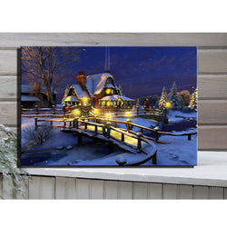 Christmas Snowy Winter Canvas LED Wall Decor -Perfect Gift