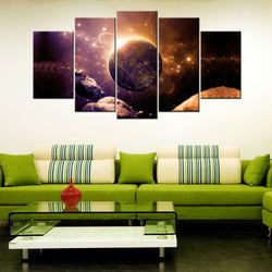 Planet Circles Rings Colorful Dark 5 Piece Canvas Wallart - HD Quality