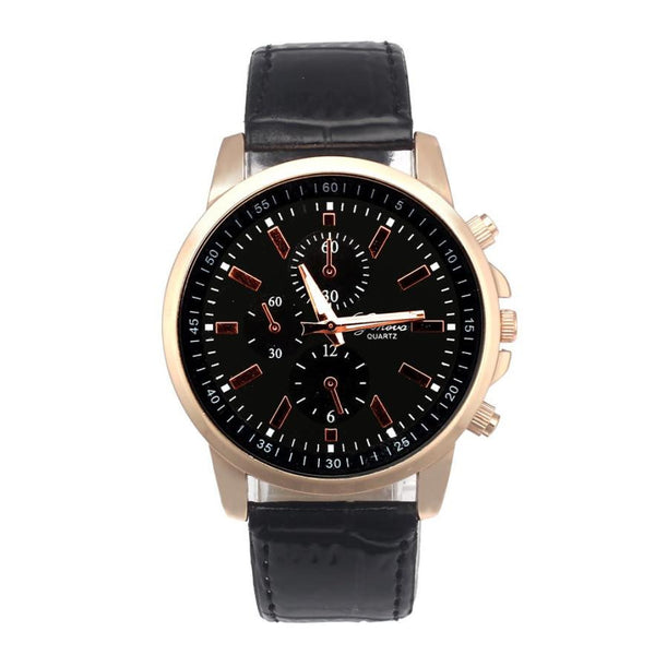Leather Luxury Quartz WristWatch For Men's