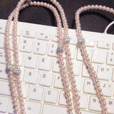 Fashionable Jewelry Pearl Necklace Earphones With Mic For Smart Phone