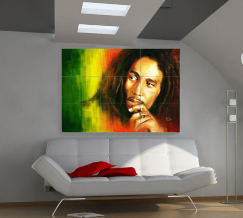 BOB MARLEY GIANT POSTER -Single Piece Canvas Wall Art HD Printed