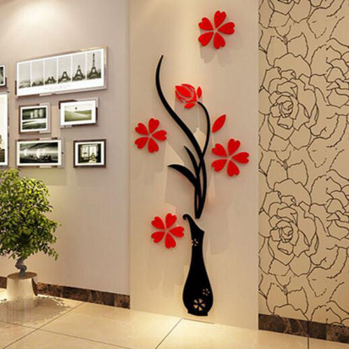 Beautiful 3D Flower DIY Mirror Home Decor Canvas Wall Sticker-HD Quality