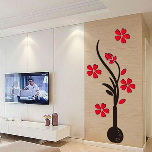beautiful 3d flower diy mirror home decor canvas wall sticker-hd