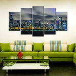 Amazing Skyline Blue Glow 5 Piece Canvas Wallart - HD Quality
