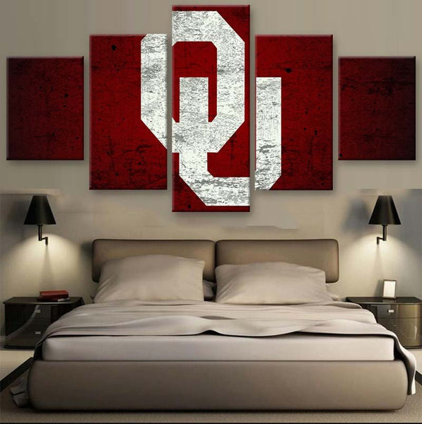 Oklahoma Sooners 5 Piece Canvas Wallart - HD Quality