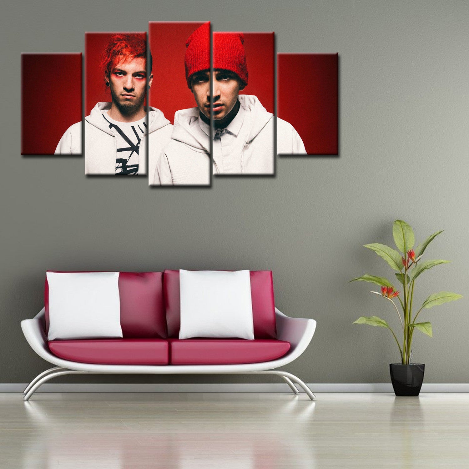 5 Pieces Blurry Face Twenty One Pilots Canvas Wall Art - HD Quality