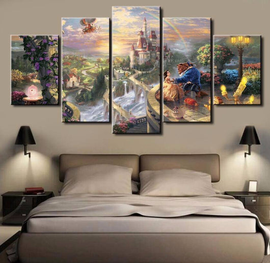 Beauty And Beast 5 Piece Canvas Wallart - HD Quality