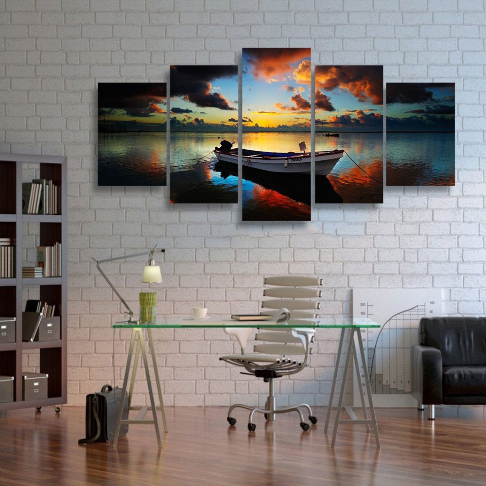 5 Piece Canvas Wall Art fishing boat in sunset 5 piece canvas wall art - hd quality