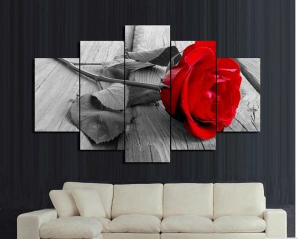 Beautiful HD Roses 5 Pieces Canvas Wallart - HD Quality