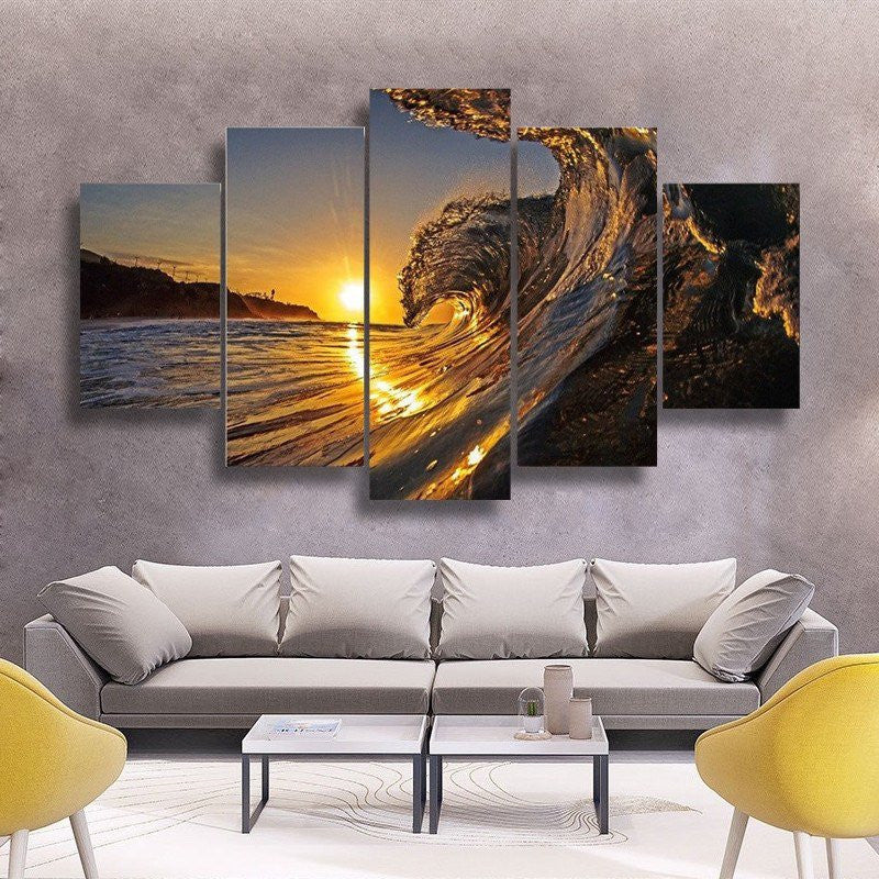 5 Piece Sunset Wave Canvas Wall Art - HD Quality