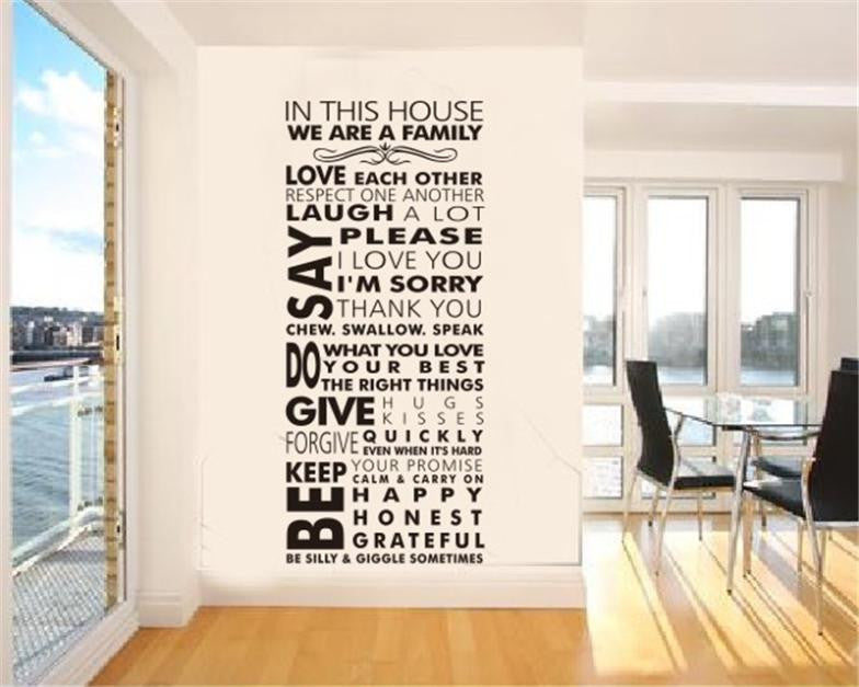 Living Room  House Rules Home Decorations Wall Sticker HD - Wall decals hd