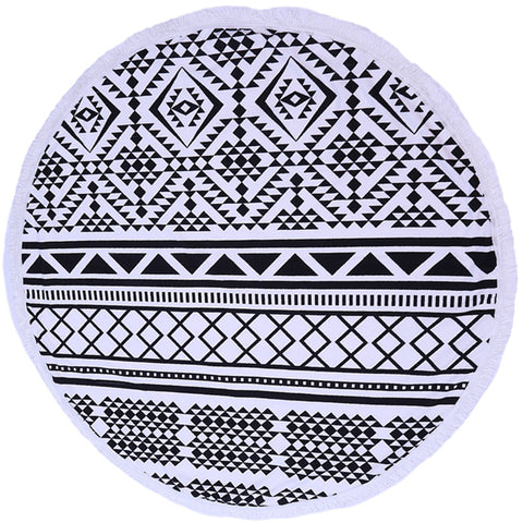 Black & White Round Bohemian Beach Blanket