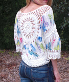 Feather Design Boho Top