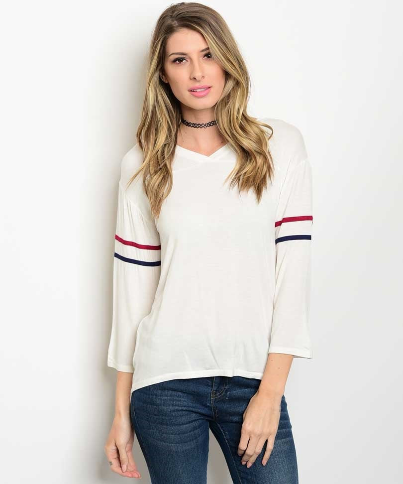 Ivory Striped Detail Jersey Top